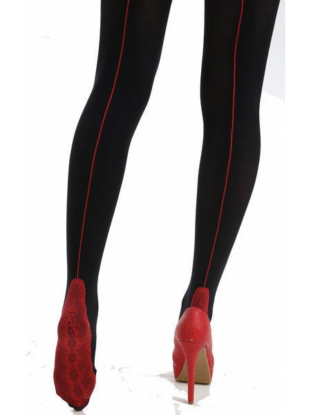 Red Seamed Black Opaque Tights