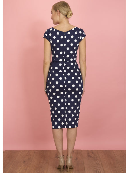Hourglass Pencil - Navy Polka