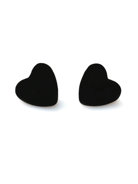 Velvet Heart Earrings - Black