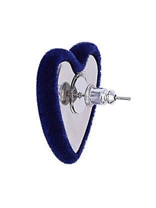 Velvet Heart Earrings - Navy