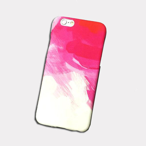 Hot Pink and White Brush Strokes Phone Case for Iphones