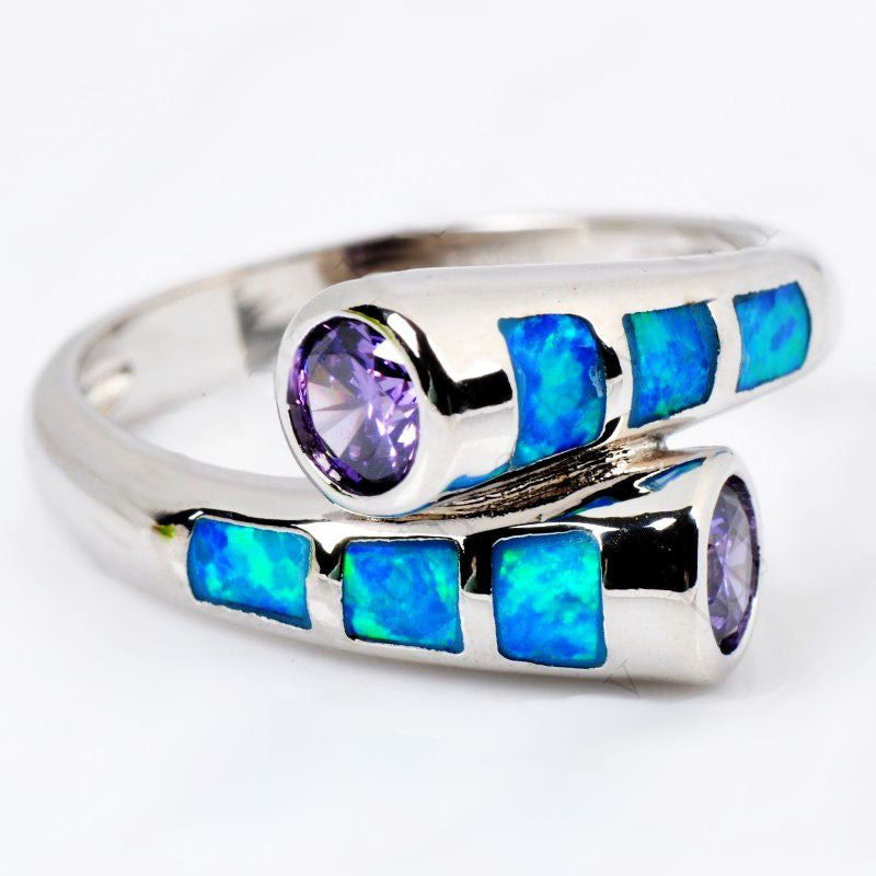 Tied Destiny Blue Fire Opal Stone Ring