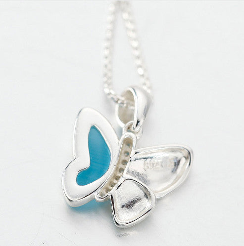 Sterling Silver Blue Stone Butterfly Necklace