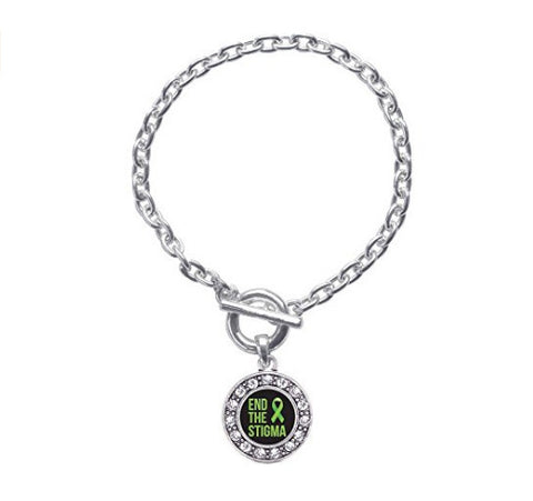 Inspired Silver Mental Health Awareness Circle Charm Braided Toggle Charm Bracelet