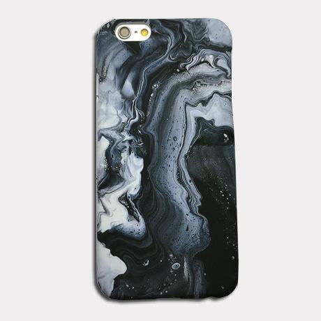 Black Swirl Marble Phone Case For iPhones