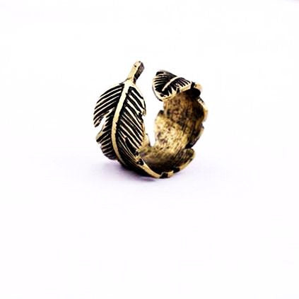 Simple Vintage Ajustable Bronze Feather Ring