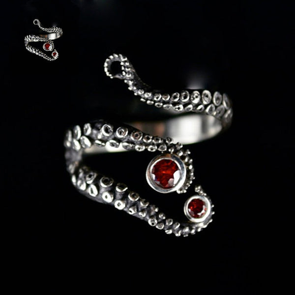 Silver Adjustable Octopus Tentacle Ring With Red Rhinestone