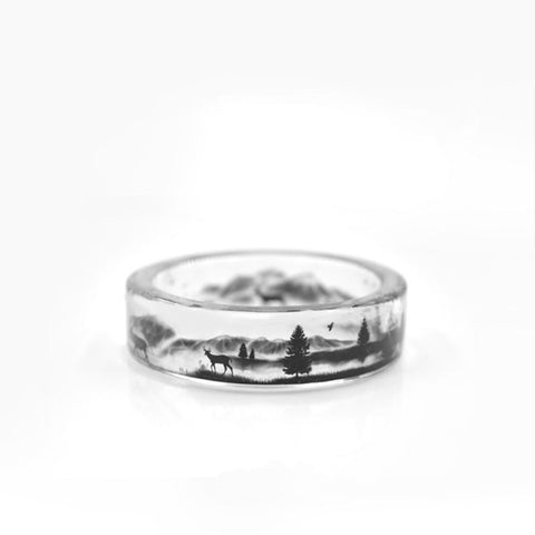 DEER IN THE FIELD Transparent  Handmade Ring