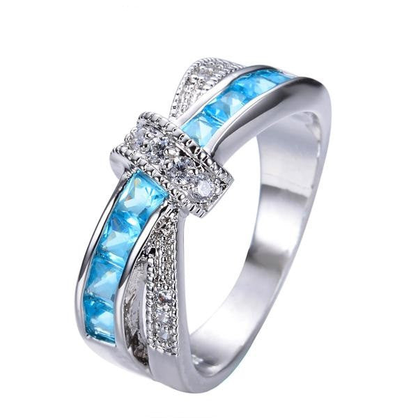 Light Blue Gemstone Cross Ring