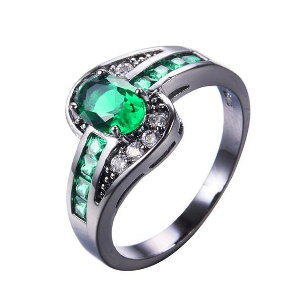 Green Oval Gemstone Ring