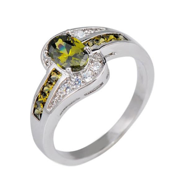 Yellow Peridot Oval Gemstone Ring