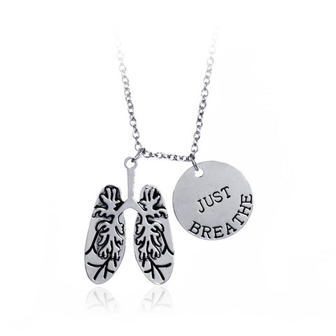 Just Breathe Lung Charm Necklace
