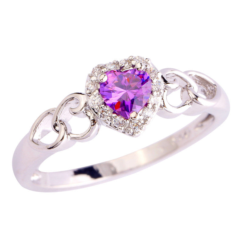 Purple Heart White Gold Ring