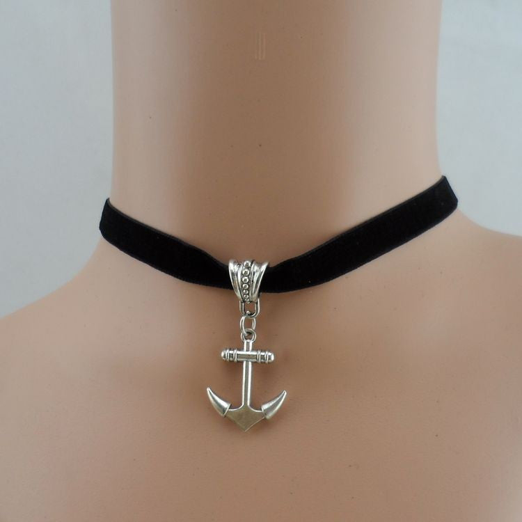 Anchor Charm Choker Necklace