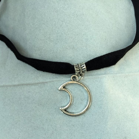 Crescent Moon Charm Choker Necklace