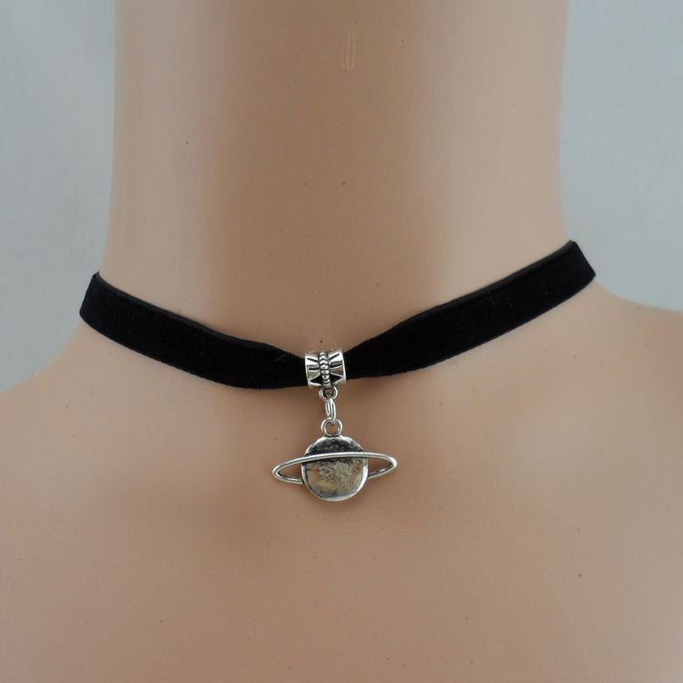 Planet Saturn Charm Choker Necklace