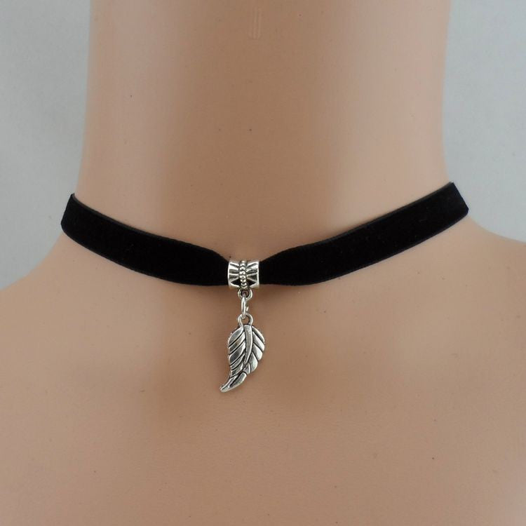 Feather Charm Choker Necklace