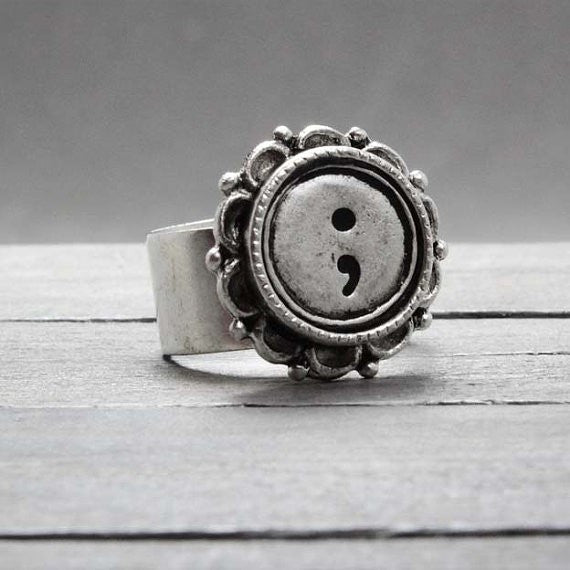 Hand stamped Semi Colon Silver ring