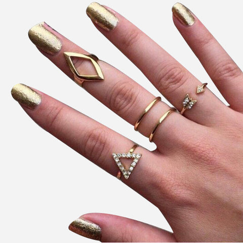 Trangle rhombus Arrow Ring Set