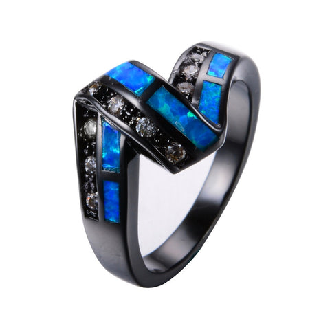 Mystical Dark Twisted Blue Fire Opal Ring