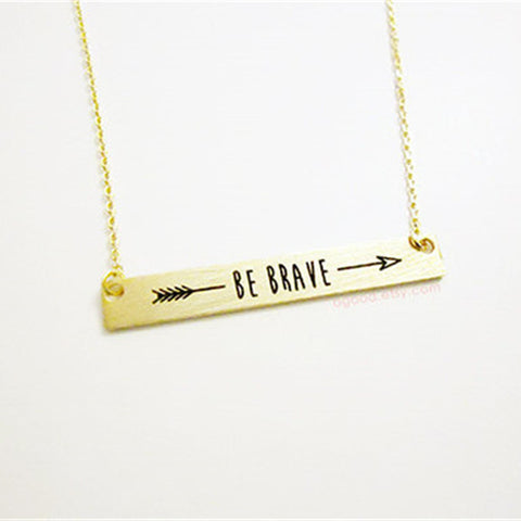 Be brave arrow statement necklace