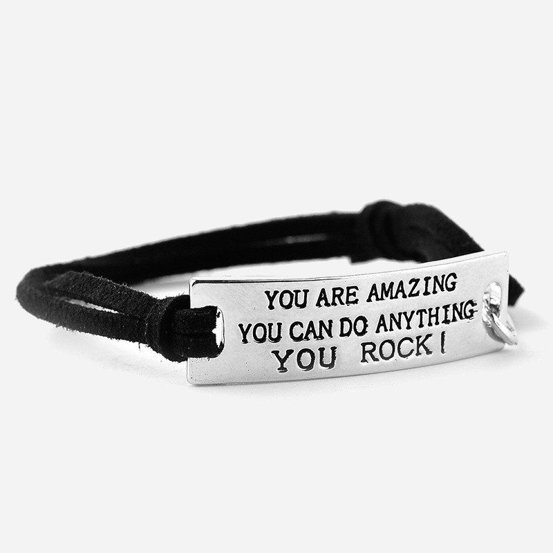 """YOU ARE AMAZING YOU CAN DO ANYTHING YOU ROCK!"" Inspirational Leather Bracelet"