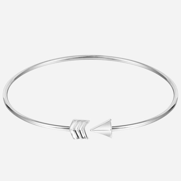 "Silver Arrow Bangle Bracelet ""Courage and Strength"" Anxiety Awareness"