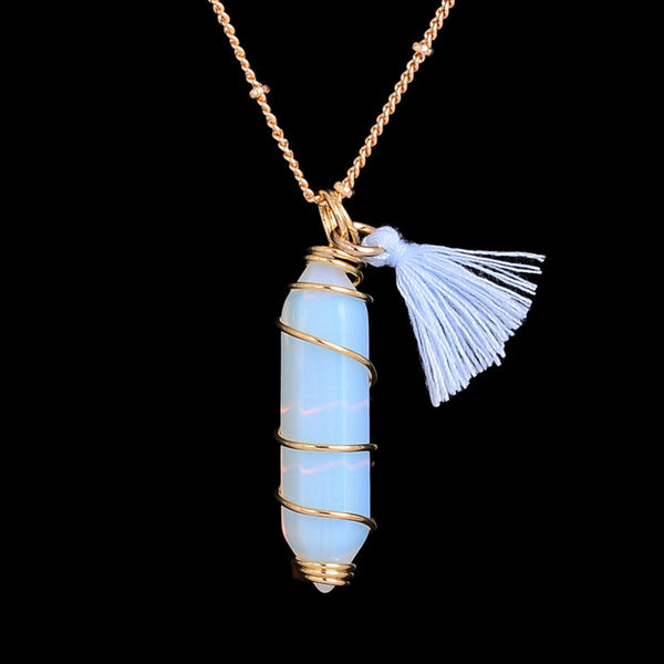 Opal Healing Crystal Tassel Necklace