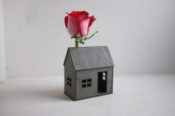 Wooden Bud Vase House in Espresso
