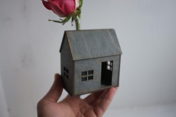 Wooden Bud Vase House in Weathered Grey