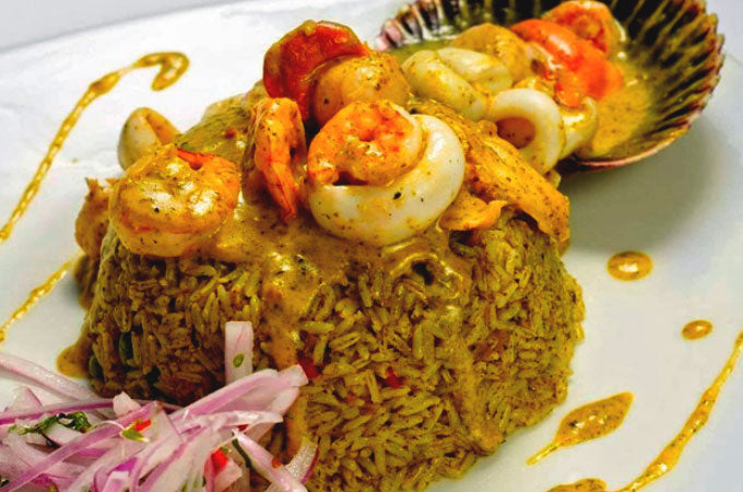 Arroz Verde con Mariscos - Peruvian Delicious Green Rice with Seafood Recipe