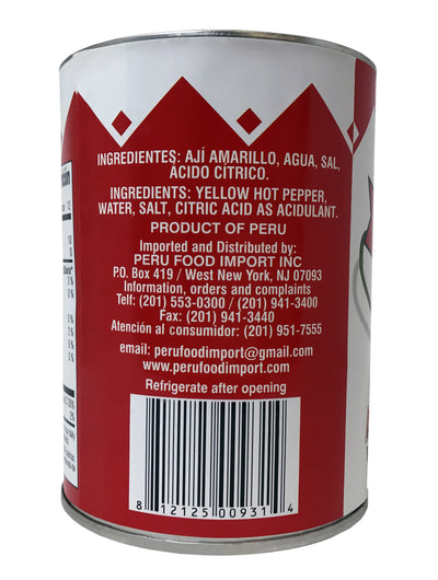 Peru Food Canned Hot Yellow Pepper - Aji Amarillo en Lata 20 oz.