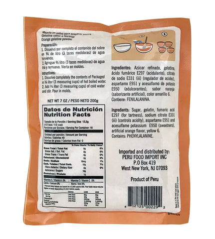 Peru Food Gelatina de Naranja 7 oz. - 3 PACK