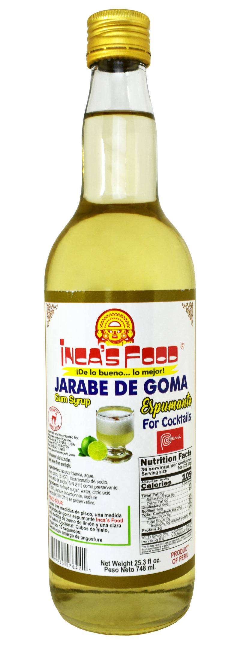 Inca's Food Jarabe de Goma - Simple Syrup for Cocktails - 748 ml.