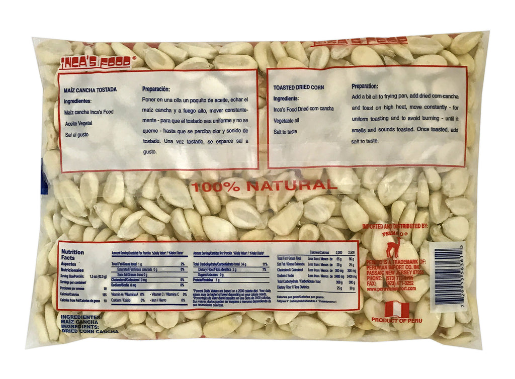 Inca's Food Dried Corn Cancha for Toasting - Maiz Cancha 15 oz.