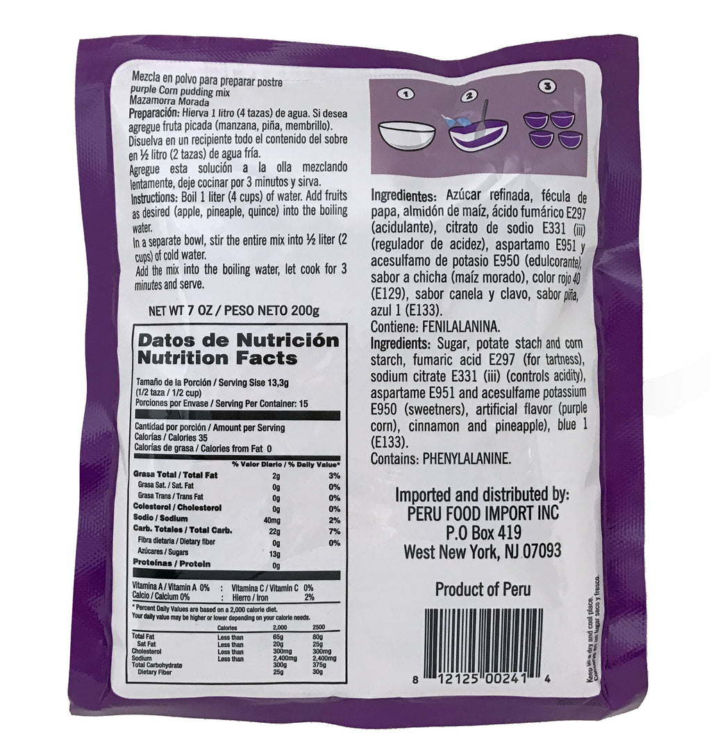 Peru Food Mazamorra Morada Mix 7 oz. - 3 PACK
