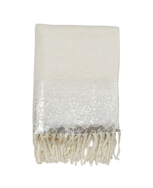 Foil Print Faux Mohair Throw