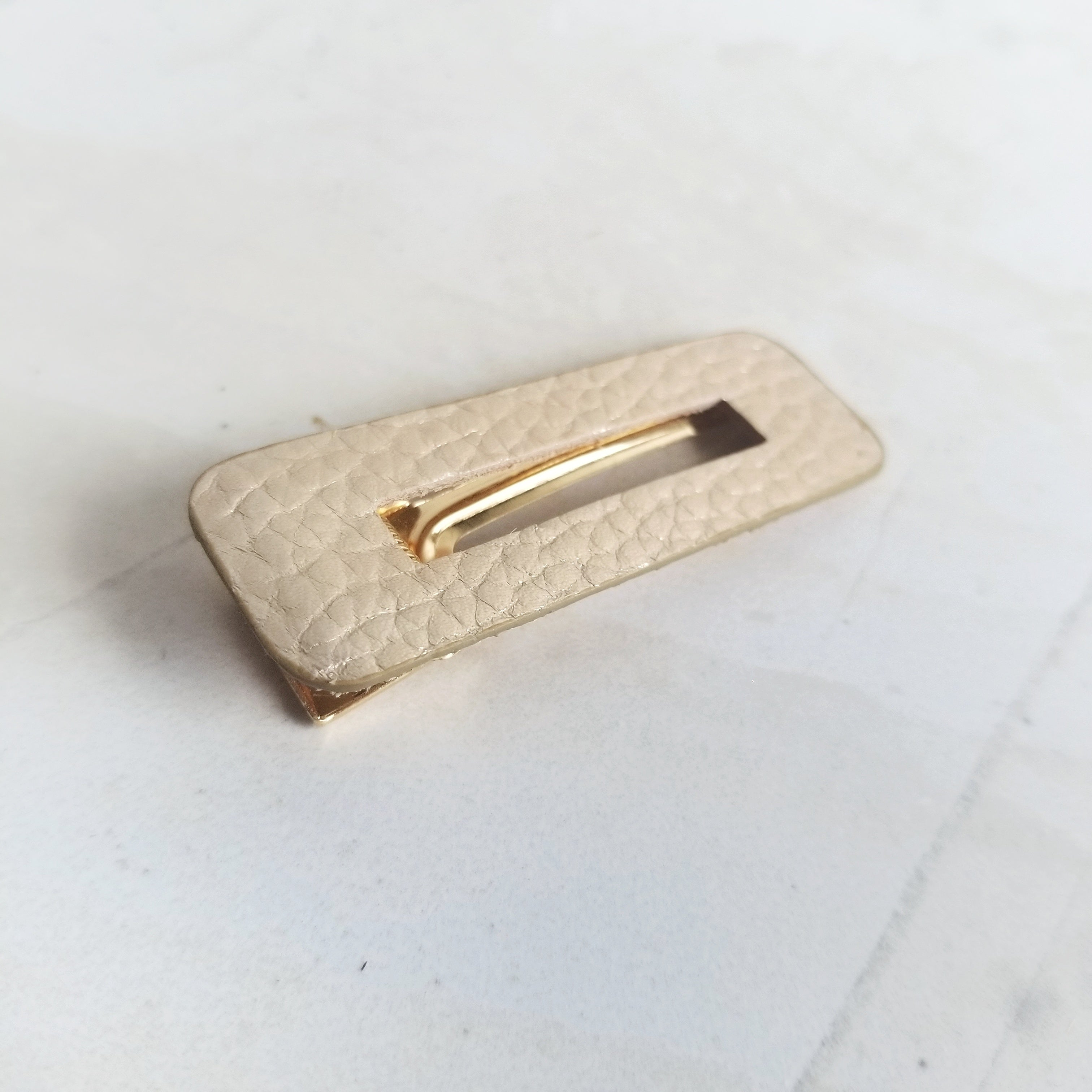 Gold Leather Hair Clip