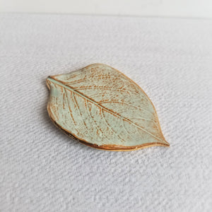 Prodigal Pottery Gold-Edge Leaf Dish