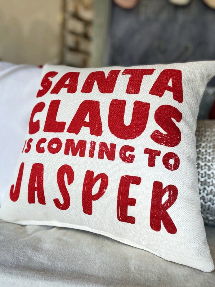 Santa Claus is Coming to Jasper Pillow
