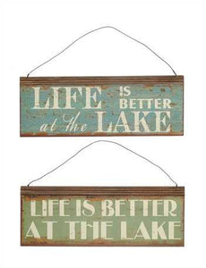 "12-3/4""L x 4-3/4""H Tin ""Life Is Better At The Lake"" Sign, 2 Styles"