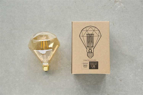 "6-1/2""H Vintage Diamond Shaped Light Bulb, Amber (E-26, 3 Watt)"