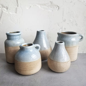 Set of 5 Ceramic Blue Jars