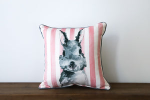 Pink Stripe Bunny Pillow