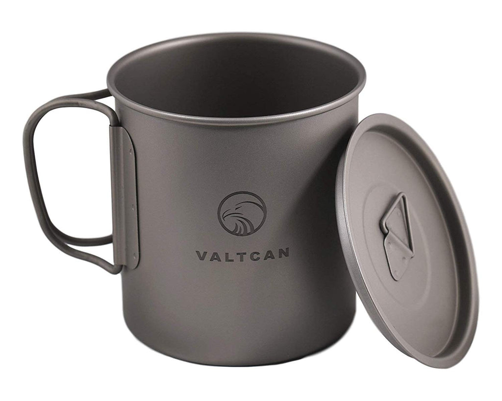 VALTCAN Titanium Camping Cup with Lid 450ml