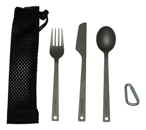 Valtcan 3 Piece Titanium Camping Flatware Fork Spoon Solid Set