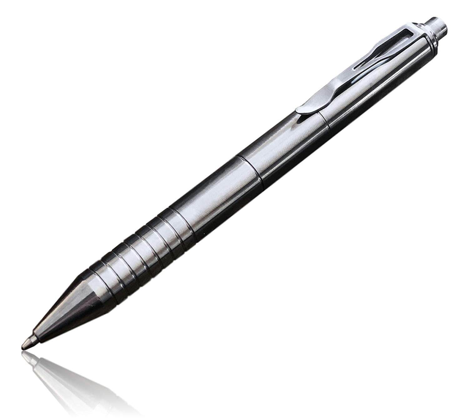 Valtcan Paladin Titanium Ballpoint Click Pen Polished Natural Finish