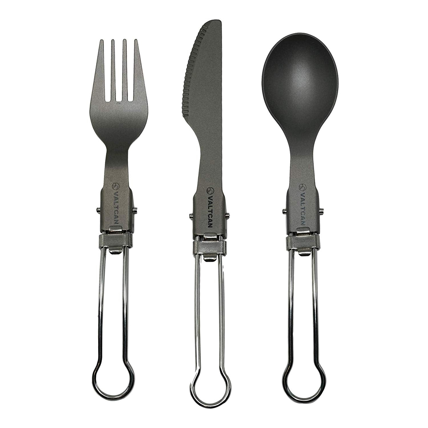 Valtcan Titanium EDC Folding Cutlery 3 Piece Utensil Set