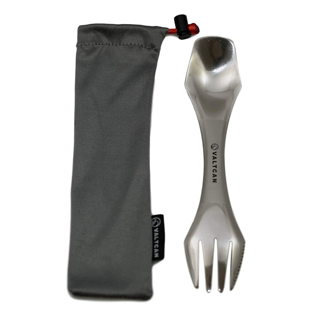 Valtcan Titanium Spork with Polished Ends - Ultra Light for Mess Kit Camping Utensils