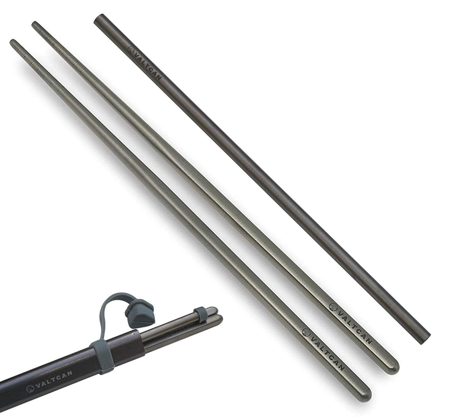Valtcan Titanium Chopsticks with Straw Set in Case